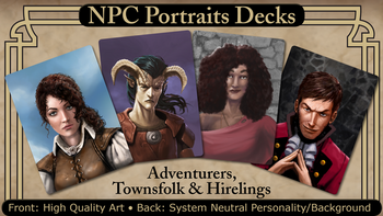 NPC Portraits Decks: Adventurers, Townsfolk, and Hirelings board game